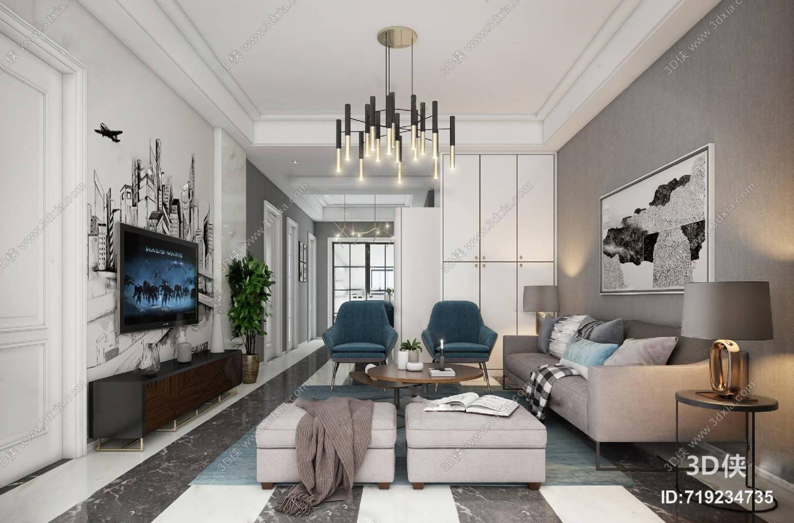 现代客厅 沙发茶几 吊灯 三人沙发 沙发凳 单椅 电视柜