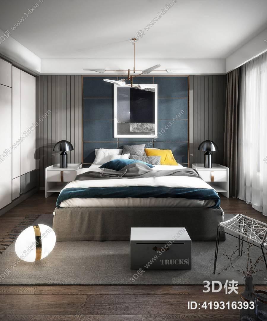 现代卧室 双人床 吊灯 床头柜 台灯