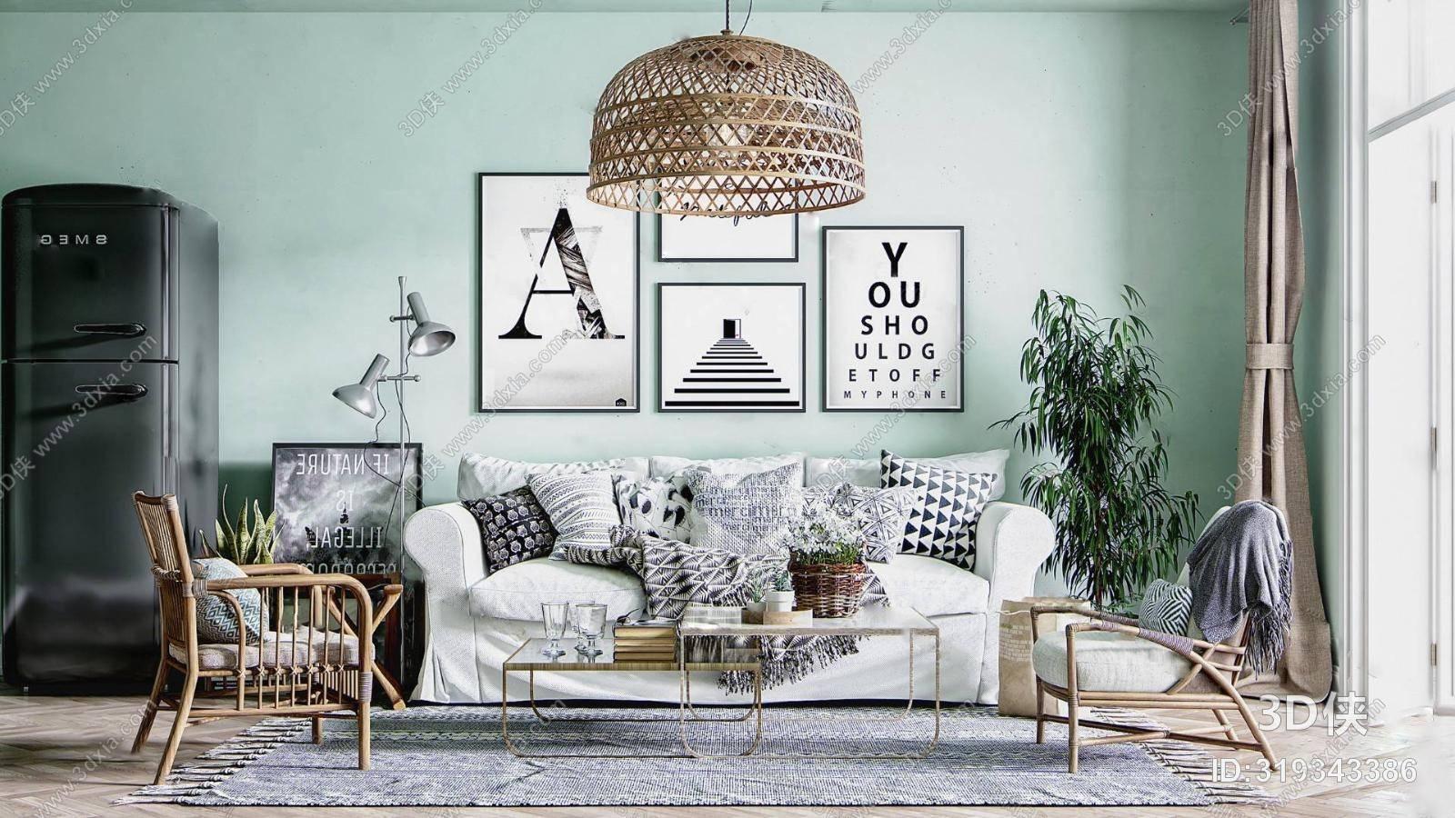 北欧沙发茶几组合 吊灯 休闲椅 植物盆栽