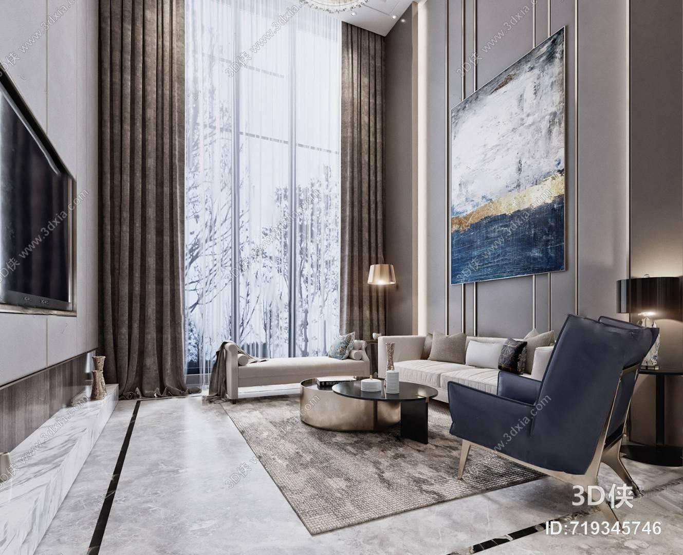 现代客餐厅 窗帘 台灯 挂画 单人沙发 沙发茶几组合 落地灯 地毯
