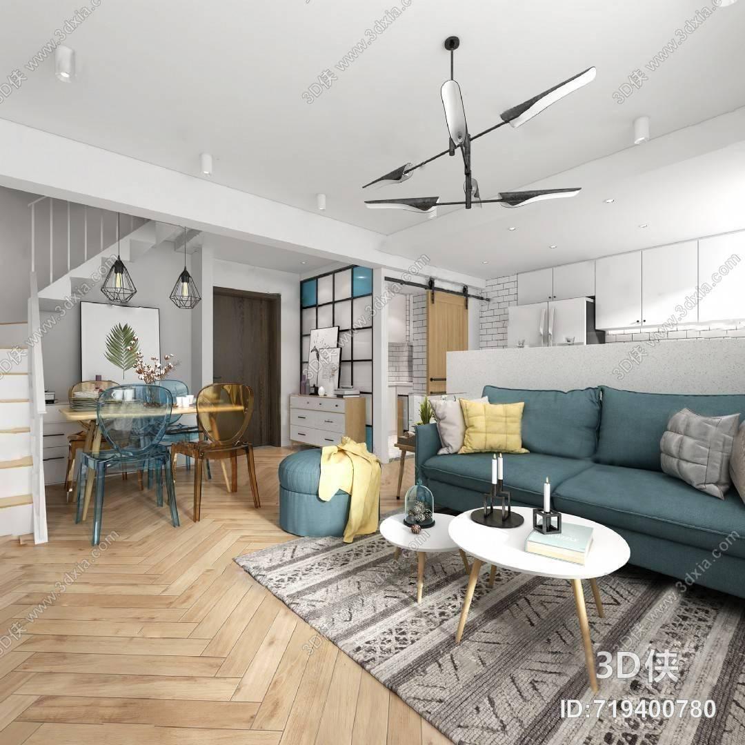 客厅3D模型 沙发 茶几 单人沙发 吊灯 地毯 摆设