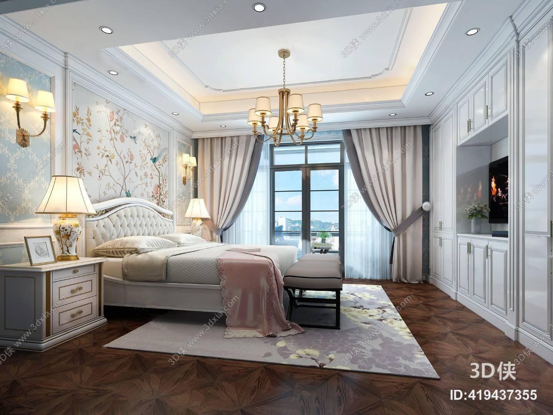 欧式卧室3D模型 双人床 吊灯 壁灯 台灯 背景墙 窗帘