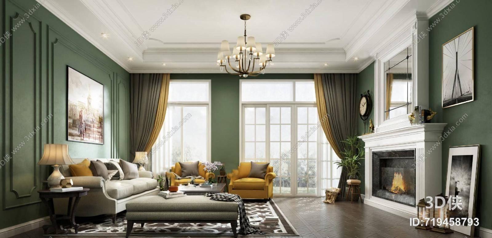 美式客厅3D模型 吊灯 壁炉 沙发茶几组合 台灯