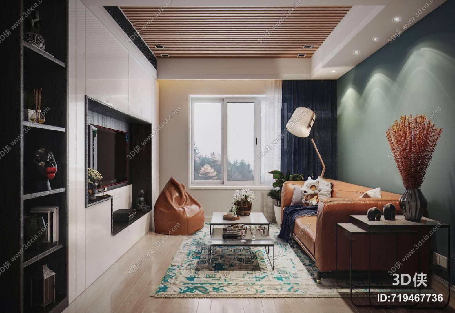 现代客厅3D模型 沙发 茶几 背景墙 置物架 懒人沙发