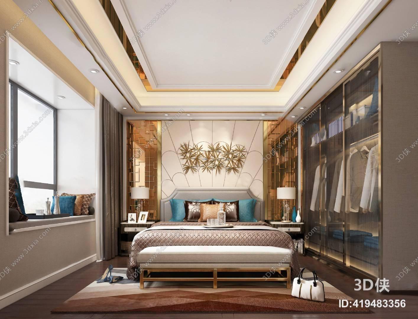 后现代卧室3D模型 衣柜 双人床 台灯 床头柜
