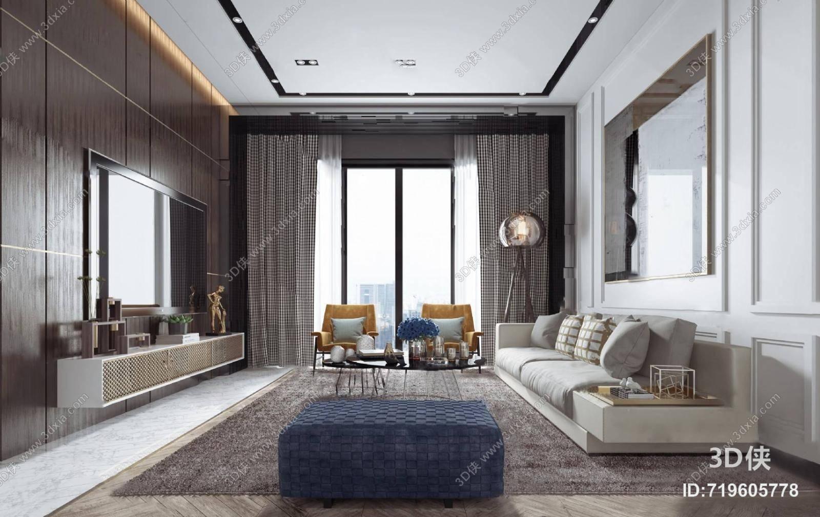 现代客厅3D模型 电视柜 组合沙发 单人沙发 茶几