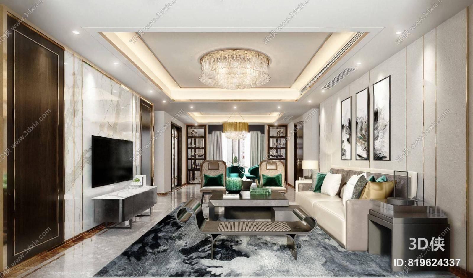 中式客餐厅3D模型 沙发组合 茶几 电视柜 吊灯