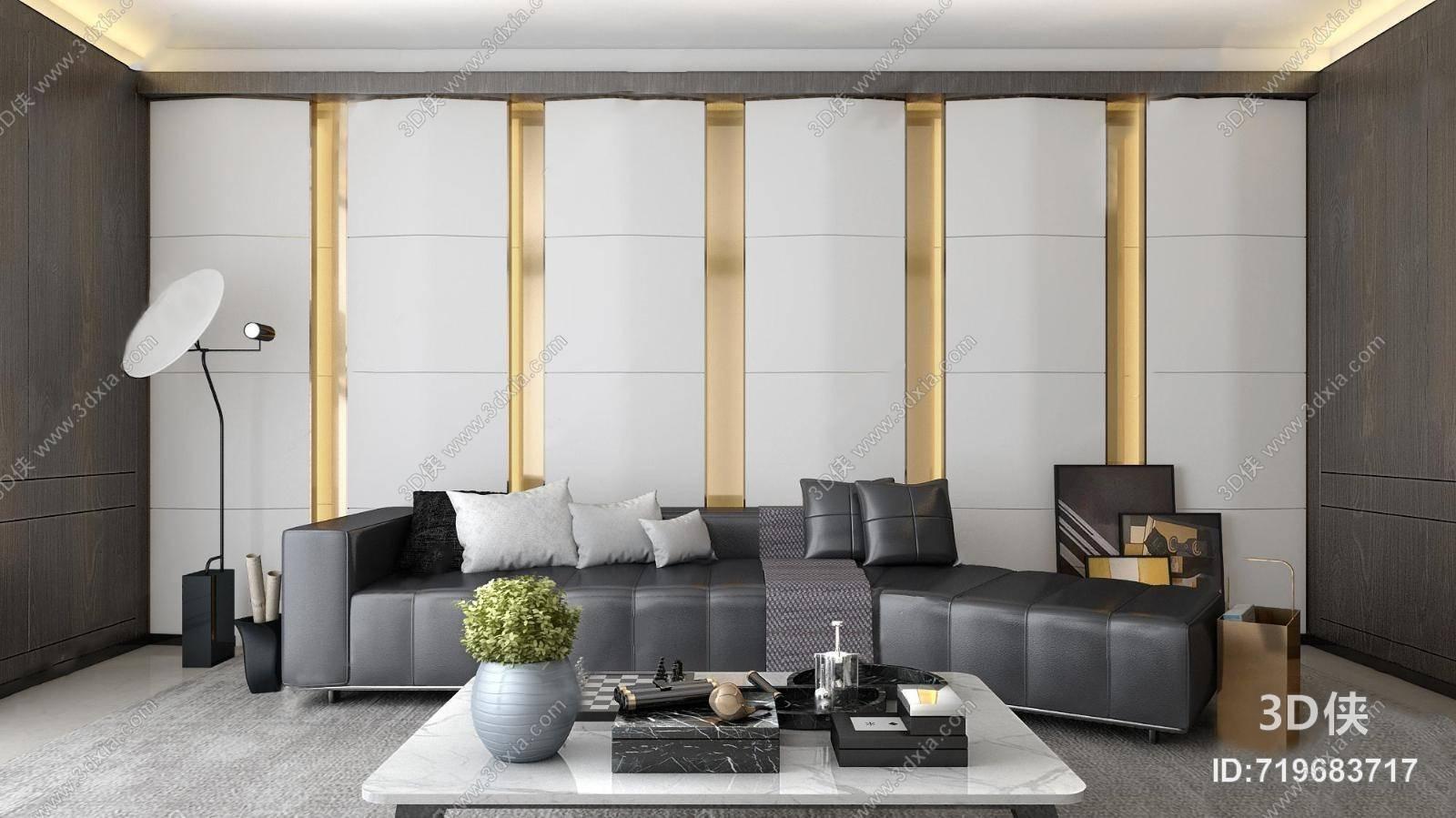 现代客厅 背景墙 落地灯 沙发 茶几