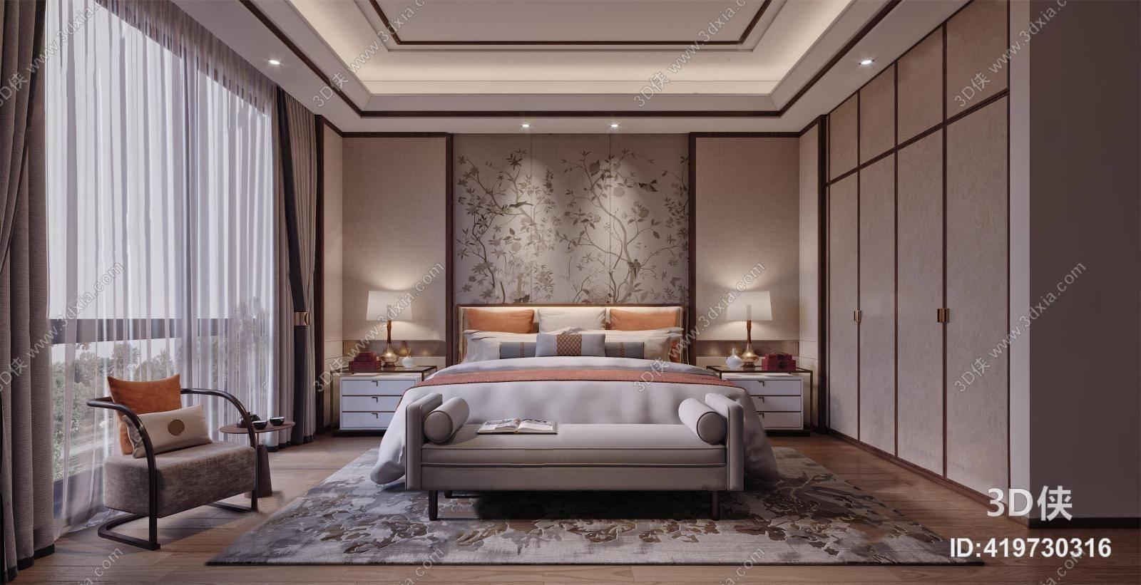 新中式卧室 双人床 床头柜 单人椅 背景墙