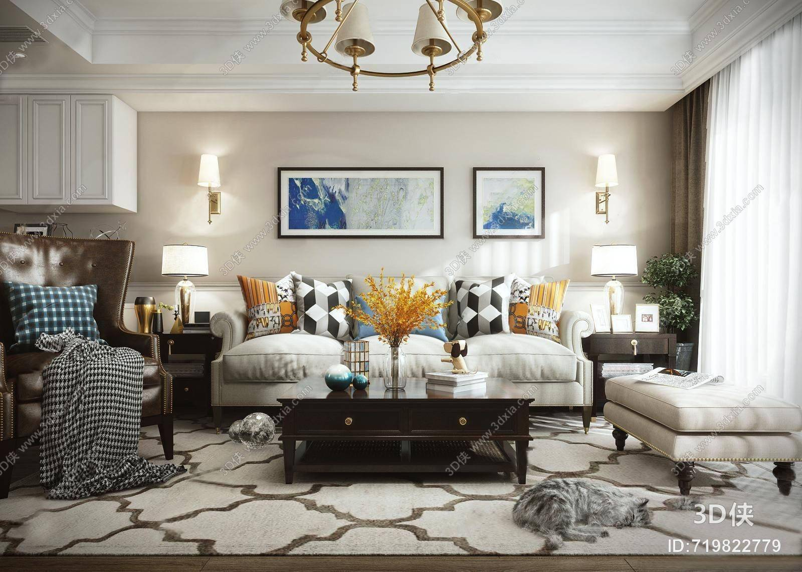 美式客厅3D模型 吊灯 三人沙发 单人沙发 茶几 装饰画