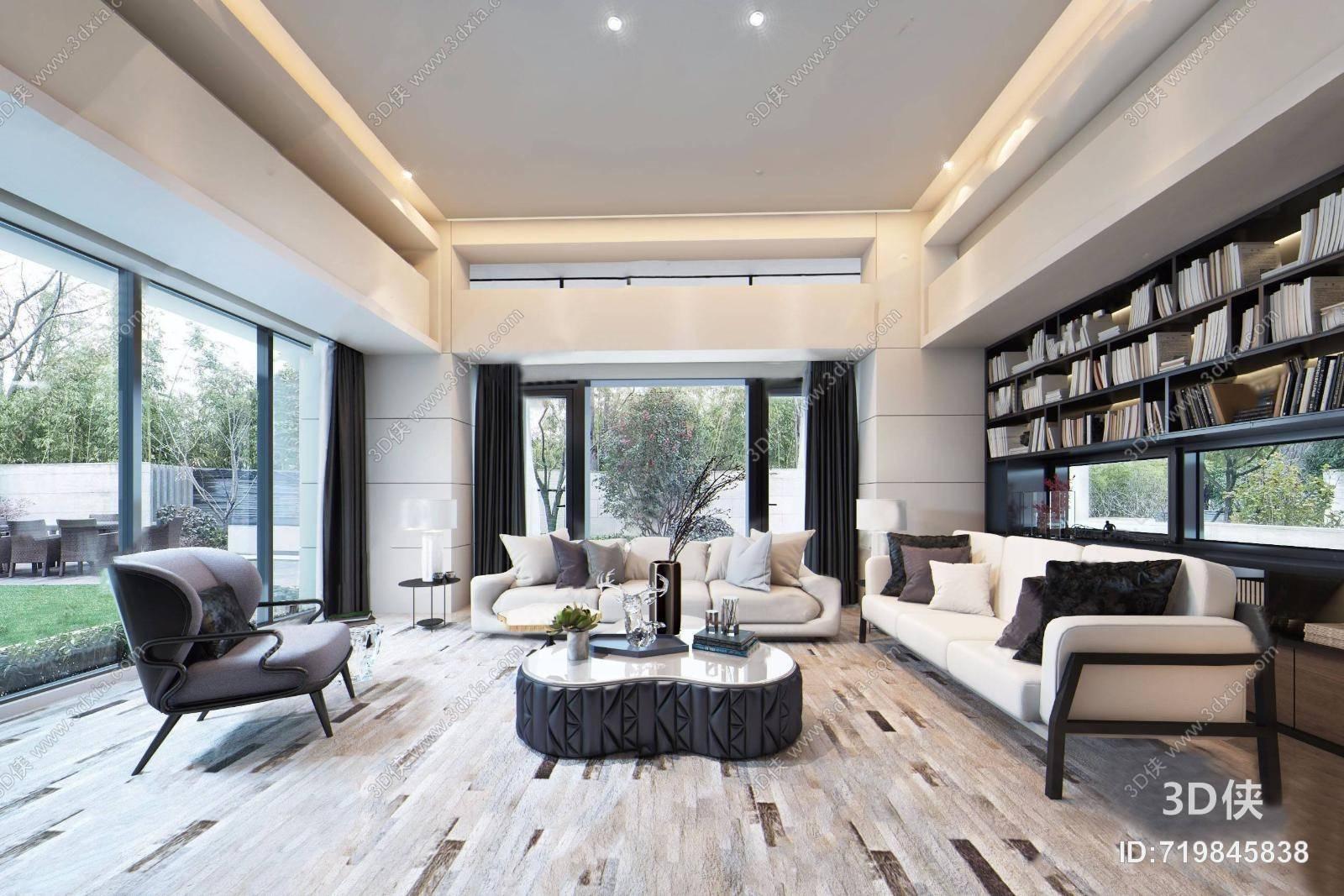 邱德光现代客厅3D模型 沙发组合 茶几 单人沙发 书架