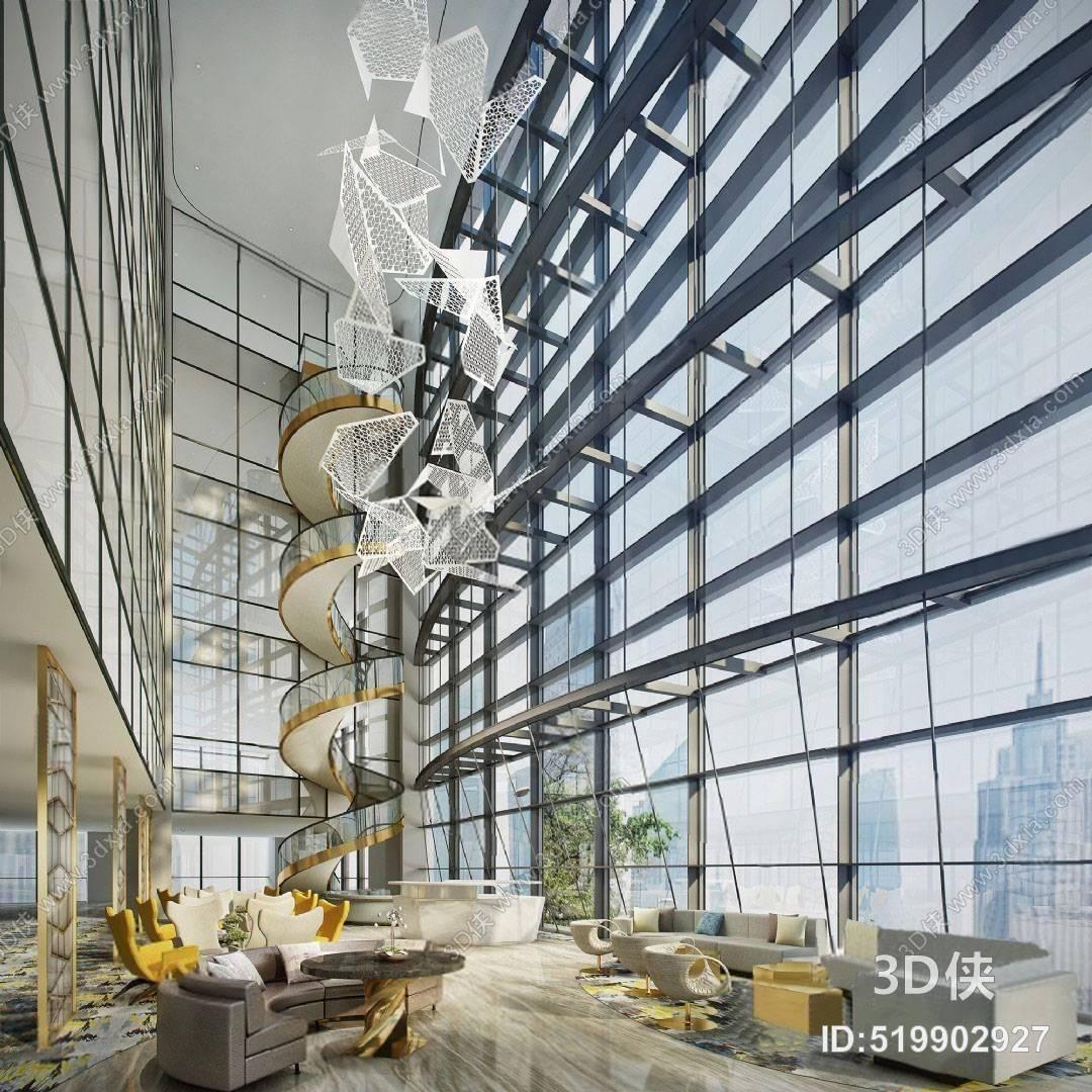 现代大厅 3D模型