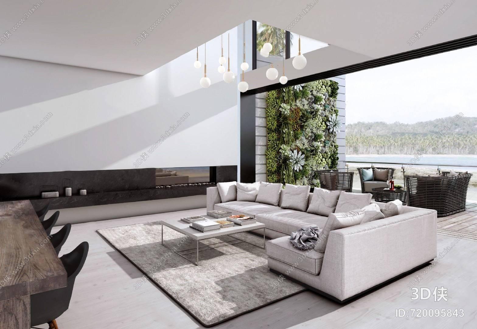 现代客厅3D模型 沙发组合 茶几 餐桌椅组合