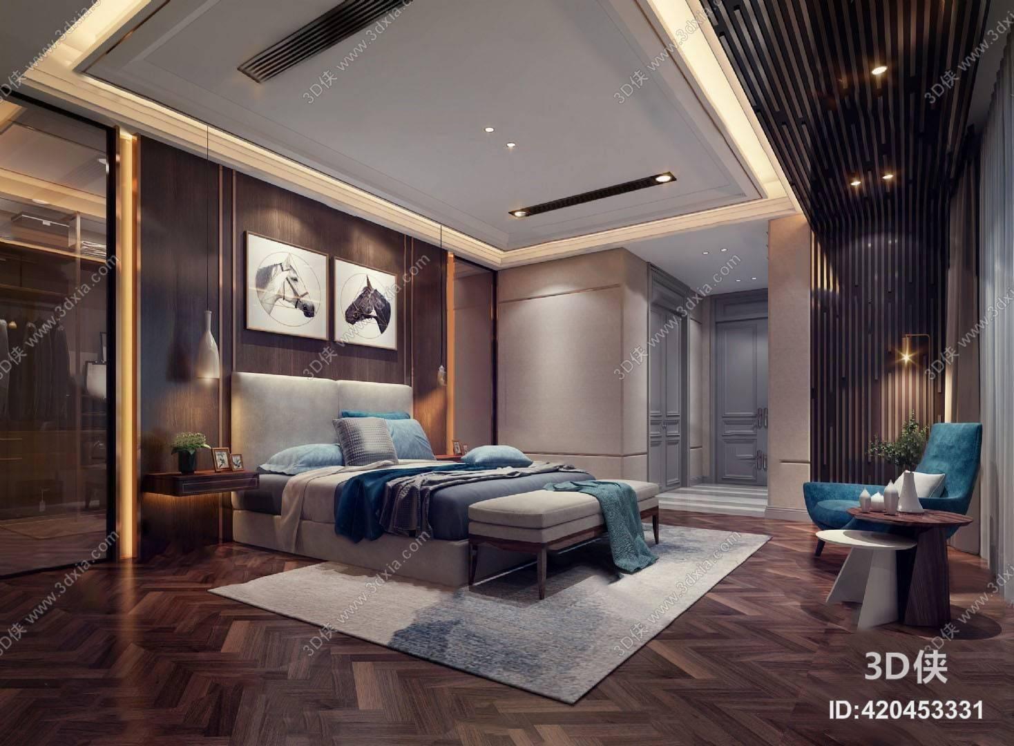 现代卧室3D模型 双人床 吊灯 背景墙