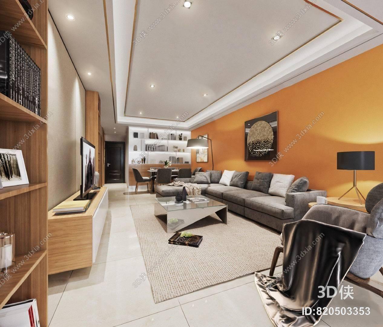 现代客餐厅3D模型 沙发茶几组合 书柜 装饰画 地毯