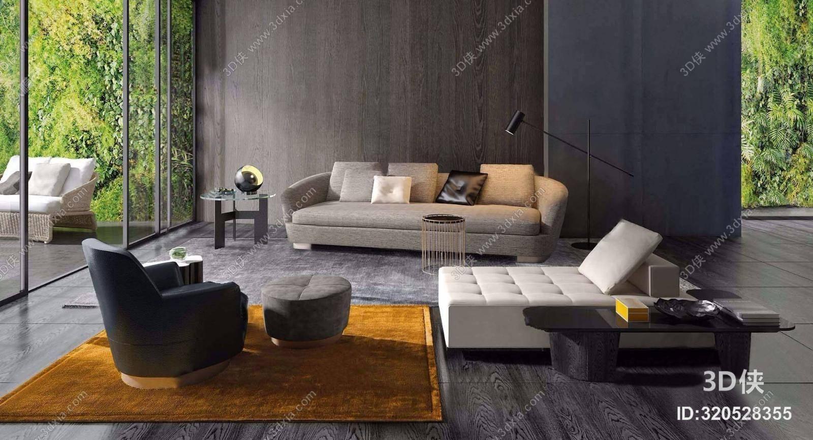 意大利MINOTTI品牌 现代沙发茶几组合3D模型