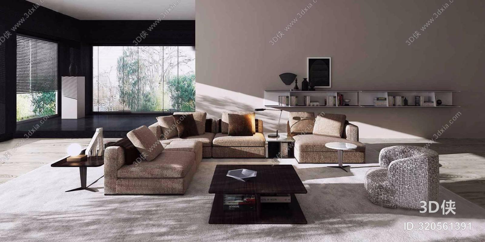 意大利Molteni&C品牌 现代转角沙发组合3D模型
