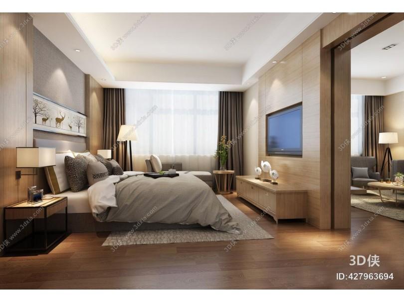 现代客房套间 现代卧室 客房套间 现代床具 双人床 电视柜 床头柜 床头灯 壁灯