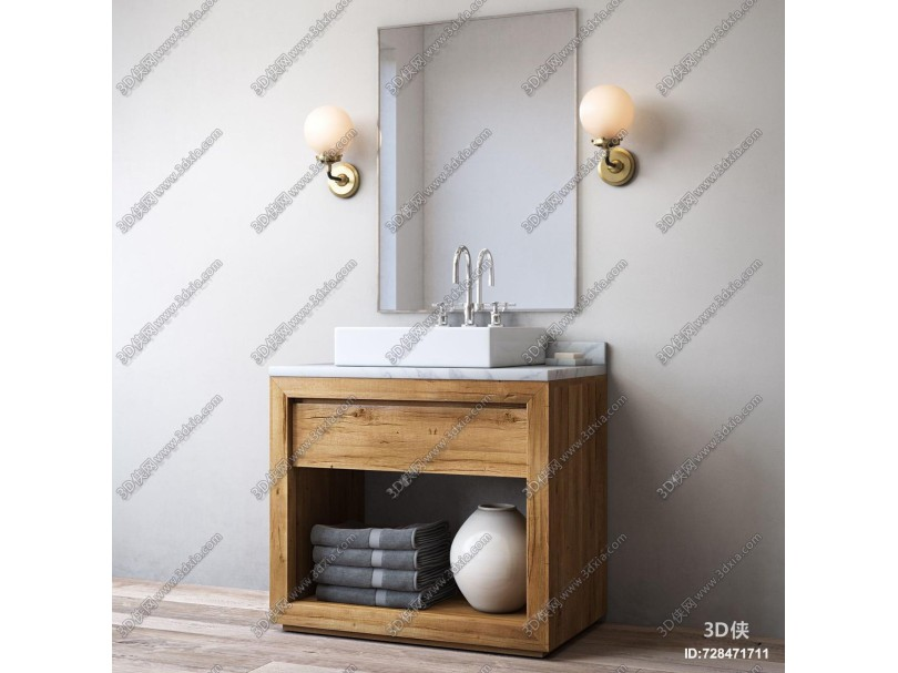 北欧实木台盆洗手台3d模型