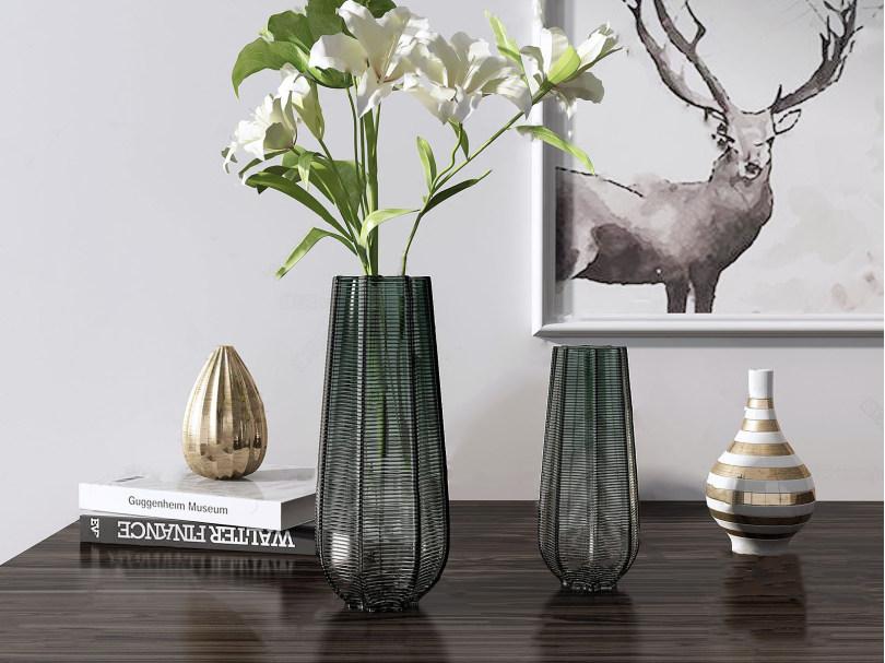 美式玻璃花瓶饰品摆件 美式饰品摆件 花瓶 装饰画