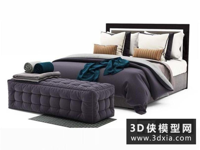 現代布藝床
