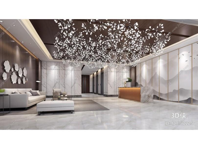 现代大厅 现代大堂 接待台 吊灯 多人沙发 茶几 边几 单人沙发 脚凳 床尾凳 墙饰 摆件