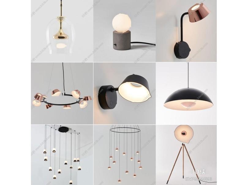 現代壁燈落地燈吊燈3d模型