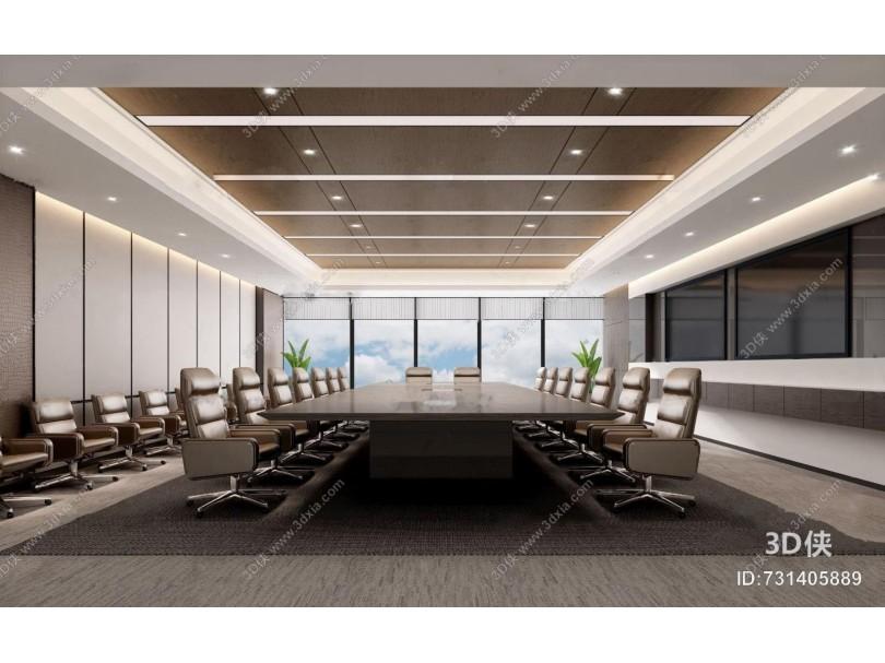 现代办公会议室3d模型