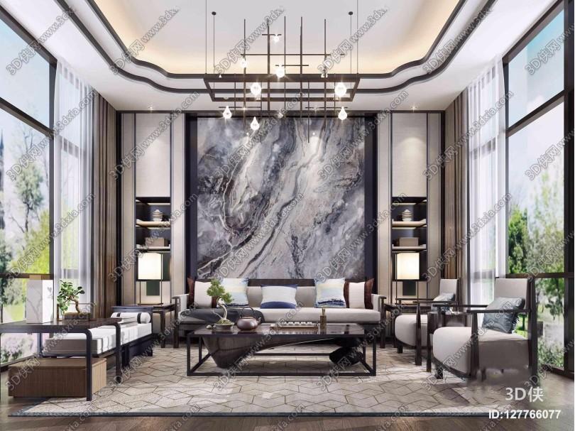 新中式布艺沙发茶几吊灯组合3D模型