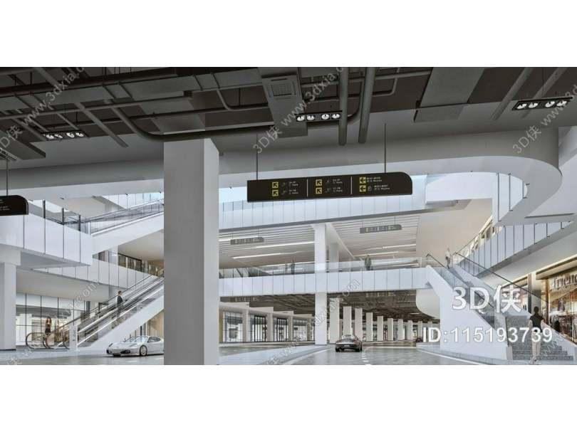 现代商场过道 指示牌 现代电动扶梯