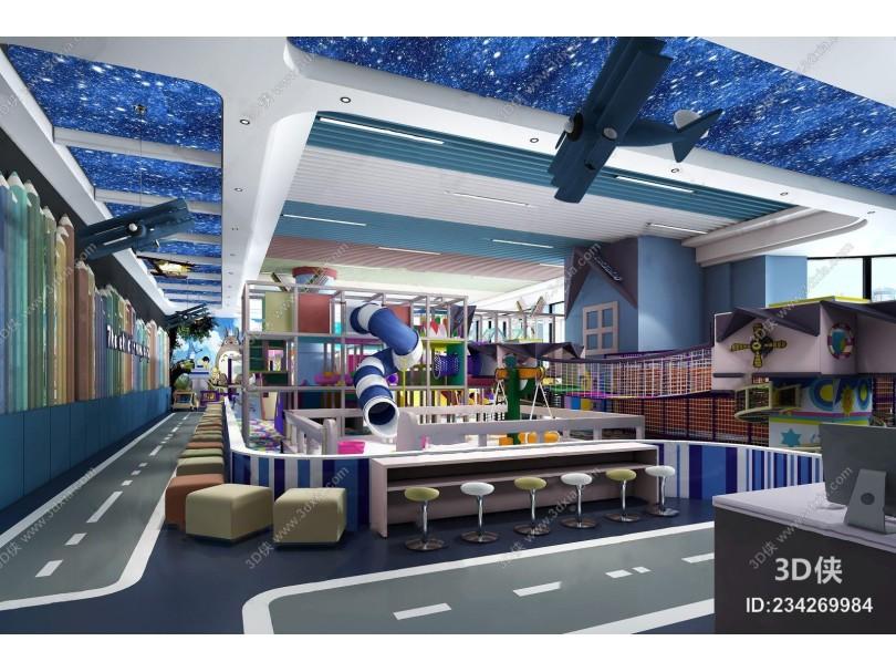 儿童游乐园 现代其他 游乐设施 滑梯 凳子 收银台