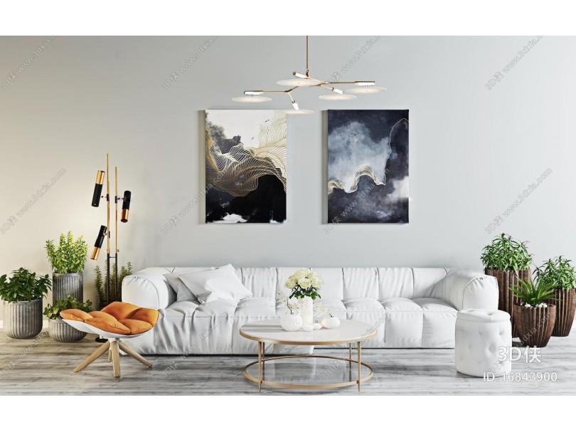 现代北欧沙发盆栽吊灯挂画组合3D模型