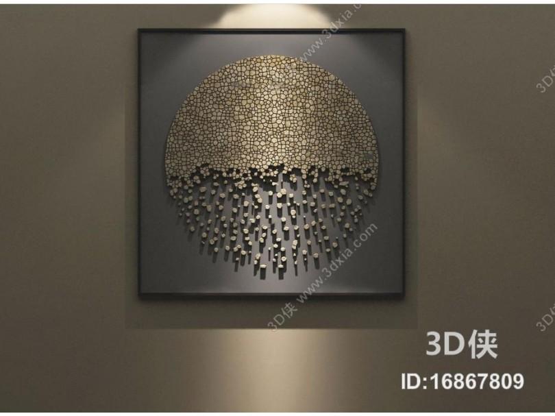 现代立体意境挂画3D模型