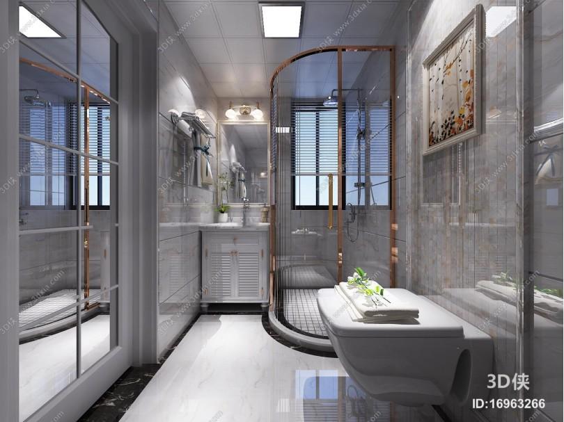现代卫生间淋浴房3D模型