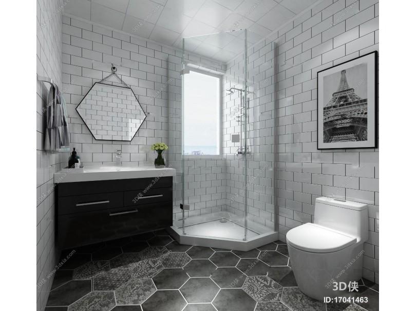 现代卫浴空间3D模型