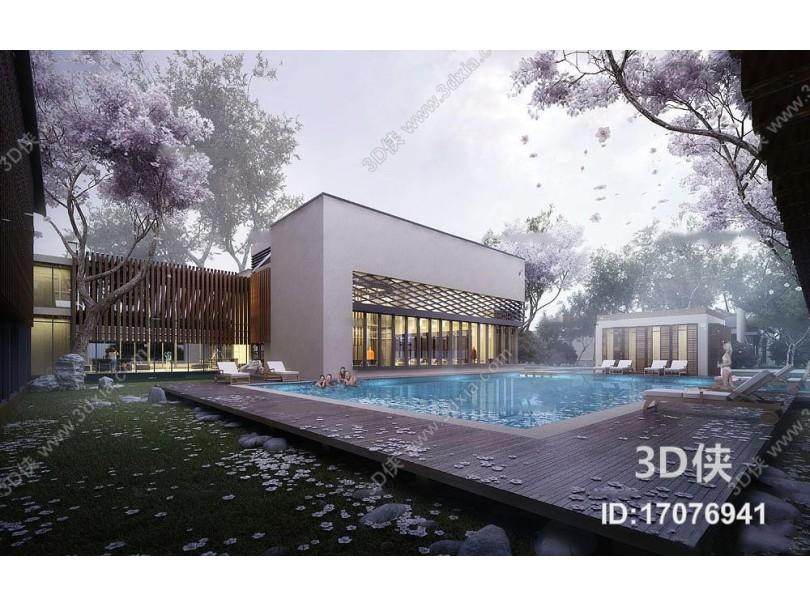 现代酒店泳池建筑外观3D模型