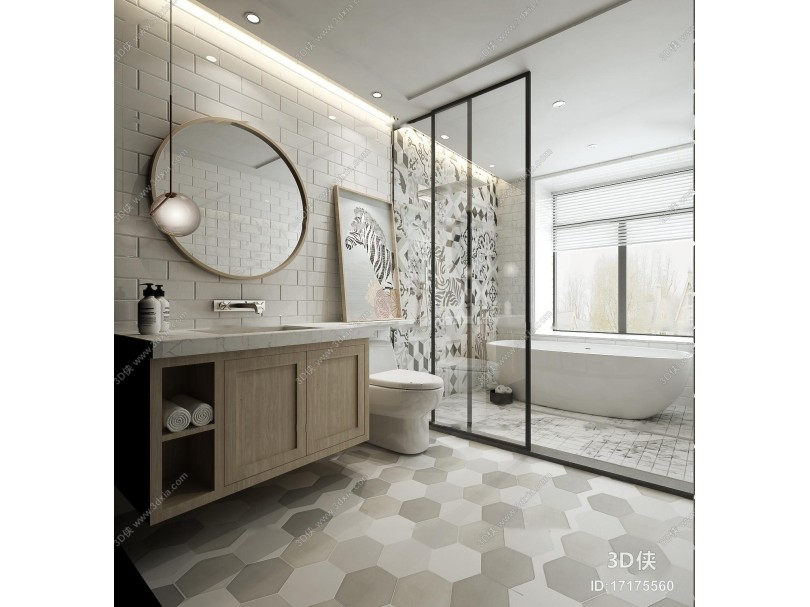 现代浴室卫生间3D模型