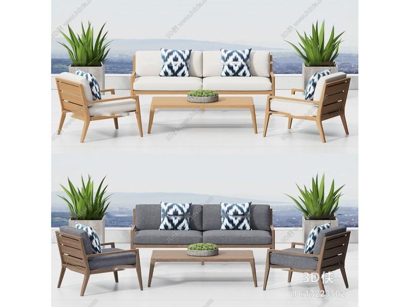 北欧休闲实木沙发茶几盆栽3D模型