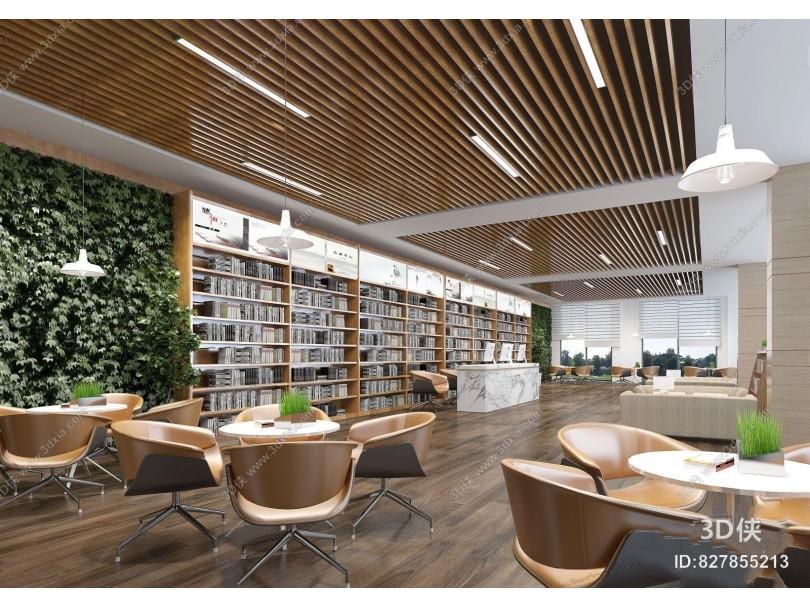 图书馆休息区 图书馆 休息区 接待台 餐桌椅 植物墙 吊灯 吊顶 多人沙发 茶几