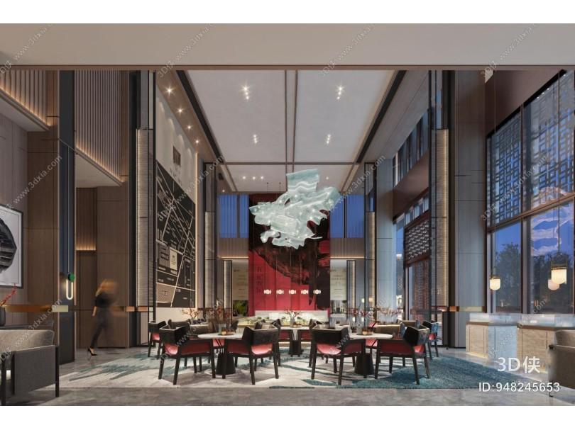 新中式售楼处洽谈区3d模型