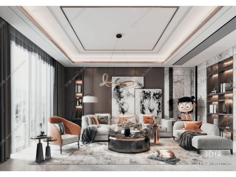 現代輕奢組合沙發3d模型