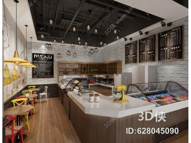 工业风蛋糕店 工业风 蛋糕店 冰淇淋店 桌椅 吊灯 吧台 展示柜 壁灯 墙壁装饰