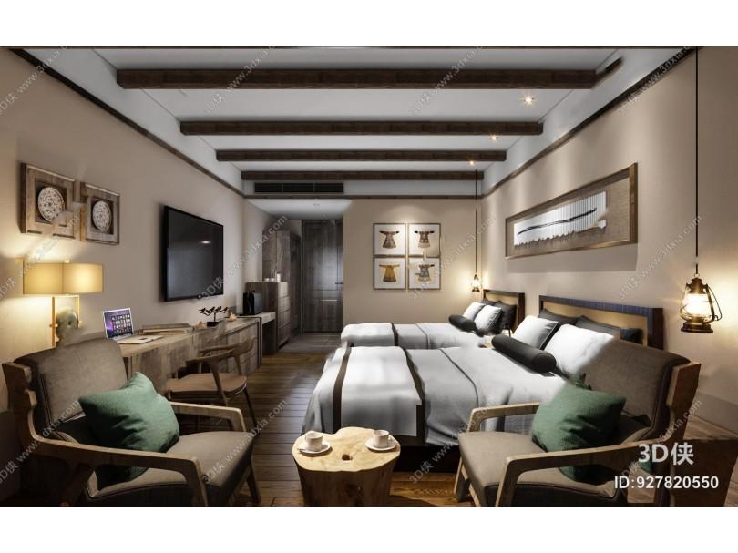 中式酒店客房双人间3D模型