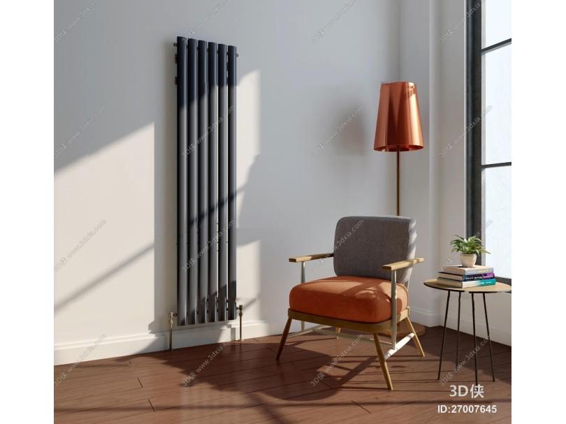 现代休闲椅落地灯暖气片组合3D模型