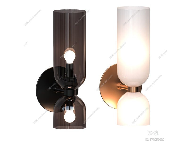 现代玻璃壁灯3d模型