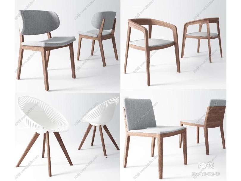 北欧布艺单椅休闲椅组合3D模型