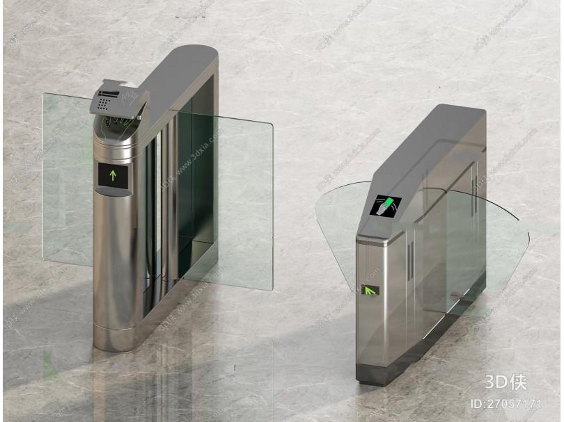 现代办公楼大堂通道翼闸防尾随速通门3D模型