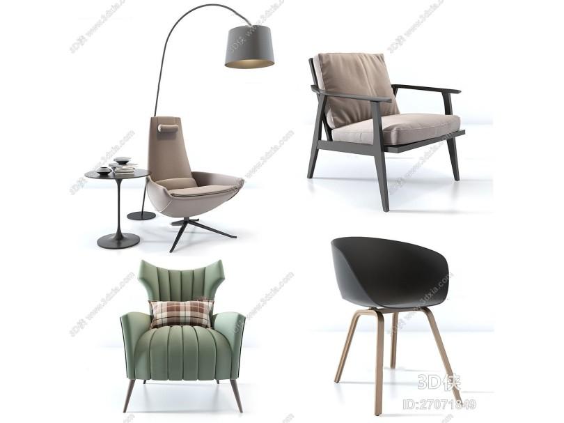 现代布艺休闲椅落地灯组合3D模型