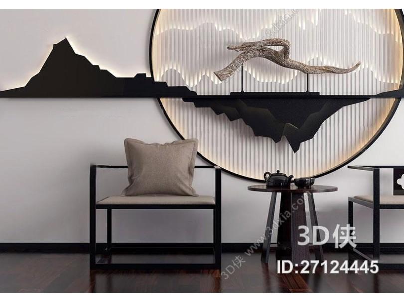 新中式休闲椅茶几背景墙组合3D模型下载