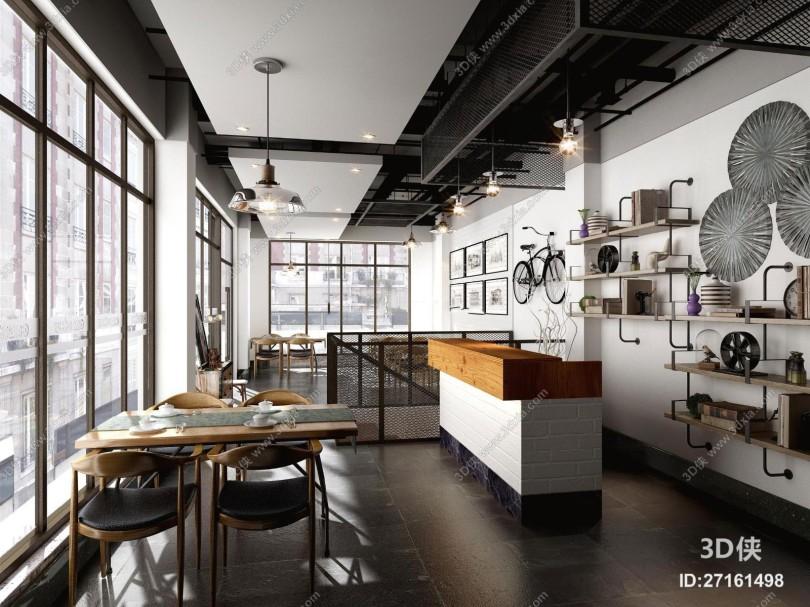 現代工業風格餐廳3D模型